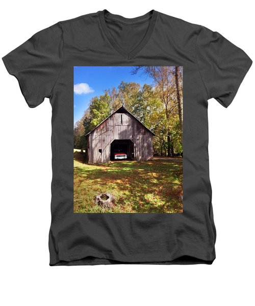 Men's V-Neck T-Shirt featuring the photograph Barn An Chevy by Janice Spivey