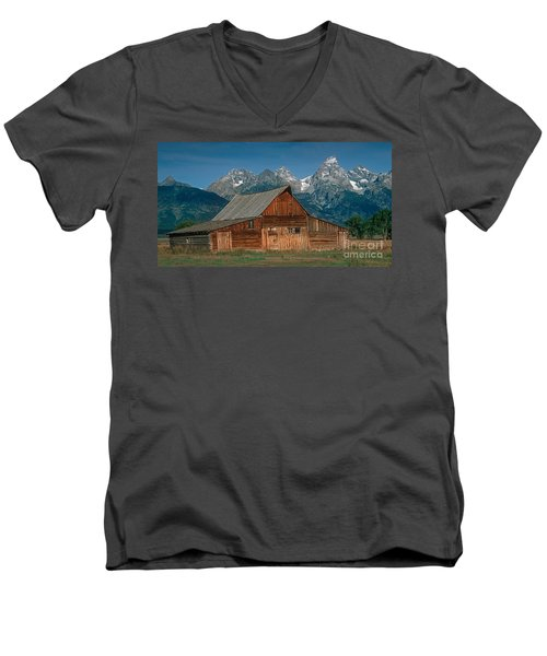 Men's V-Neck T-Shirt featuring the photograph Barn And Tetons by Jerry Fornarotto