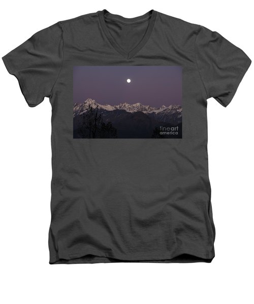 Men's V-Neck T-Shirt featuring the photograph Bathed In Moonlight by Fotosas Photography