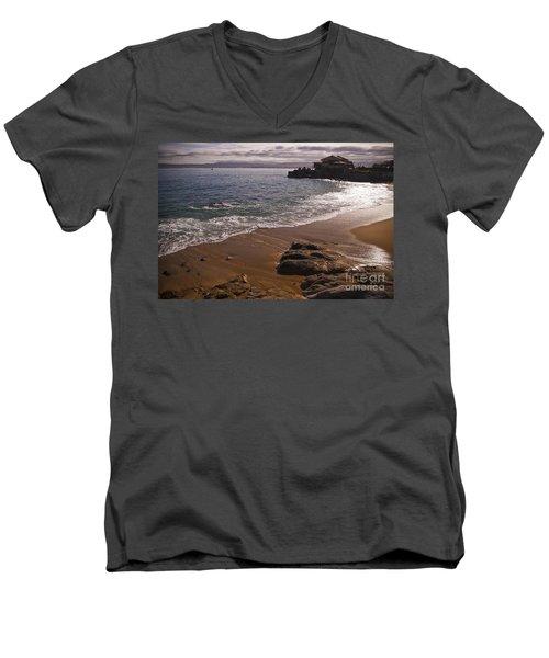 Beach At Monteray Bay Men's V-Neck T-Shirt by Darcy Michaelchuk