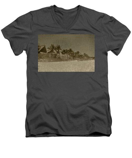 Beach Huts In A Tropical Paradise Men's V-Neck T-Shirt
