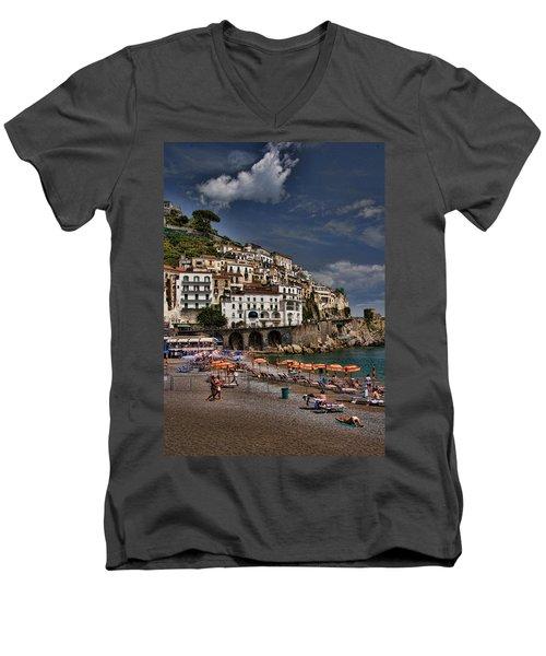 Beach Scene In Amalfi On The Amalfi Coast In Italy Men's V-Neck T-Shirt