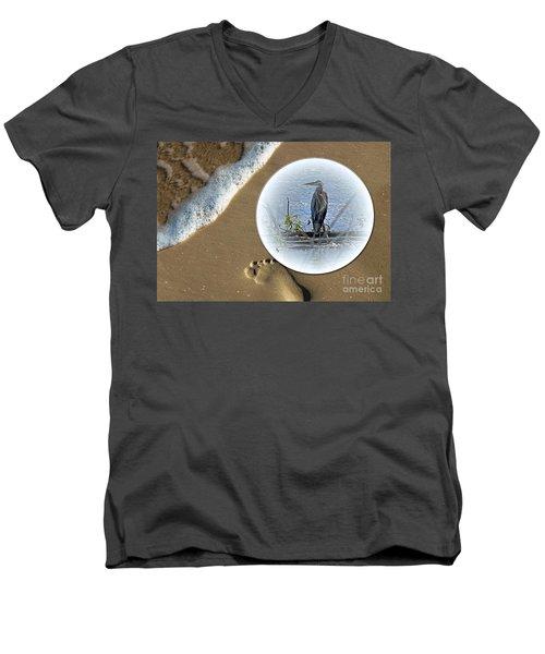 Beached Heron Men's V-Neck T-Shirt