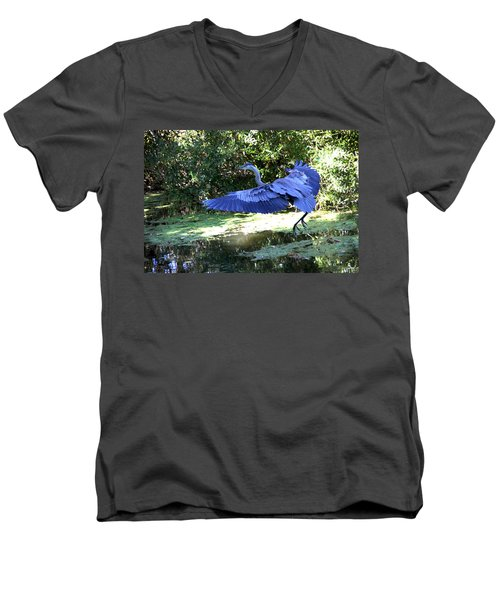 Big Blue In Flight Men's V-Neck T-Shirt