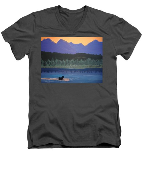 Men's V-Neck T-Shirt featuring the painting Big Sky Country by Norm Starks