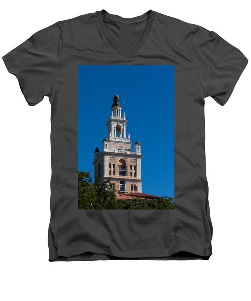 Men's V-Neck T-Shirt featuring the photograph Biltmore Hotel Tower And Moon by Ed Gleichman