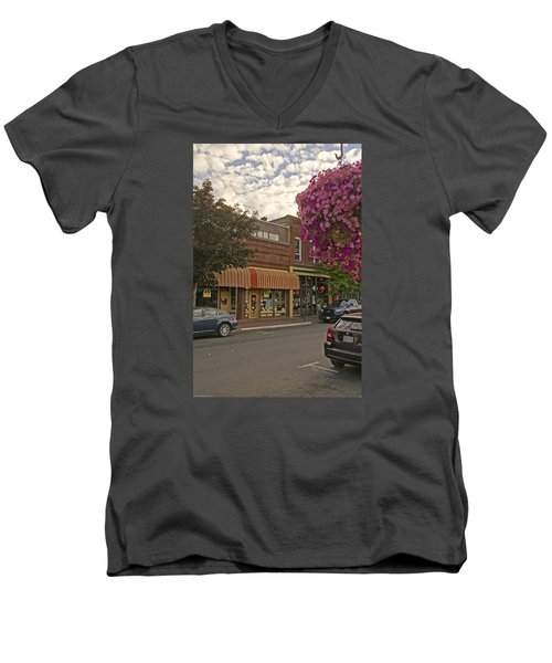 Blind Georges And Laughing Clam On G Street In Grants Pass Men's V-Neck T-Shirt by Mick Anderson