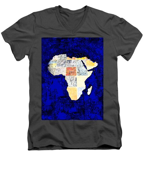 Men's V-Neck T-Shirt featuring the photograph Blue Africa by Anne Mott