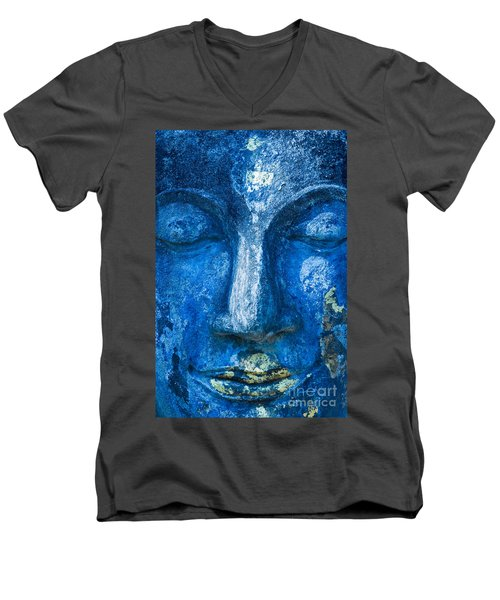 Men's V-Neck T-Shirt featuring the photograph Blue Buddha  by Luciano Mortula