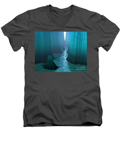 Men's V-Neck T-Shirt featuring the digital art Blue Canyon River by Phil Perkins
