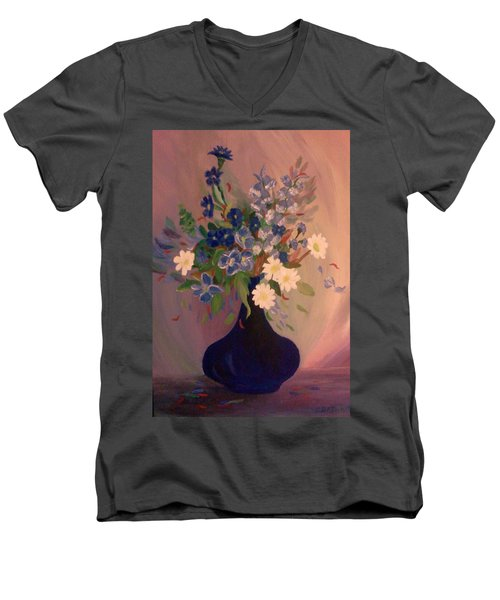 Men's V-Neck T-Shirt featuring the painting Blue Flowers 2 by Christy Saunders Church