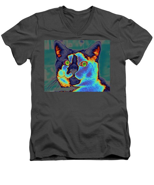 Blue Kitty Men's V-Neck T-Shirt