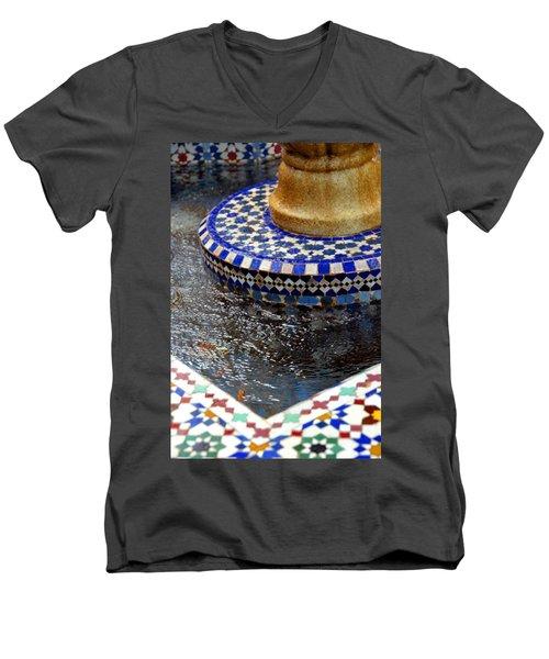 Blue Mosaic Fountain II Men's V-Neck T-Shirt
