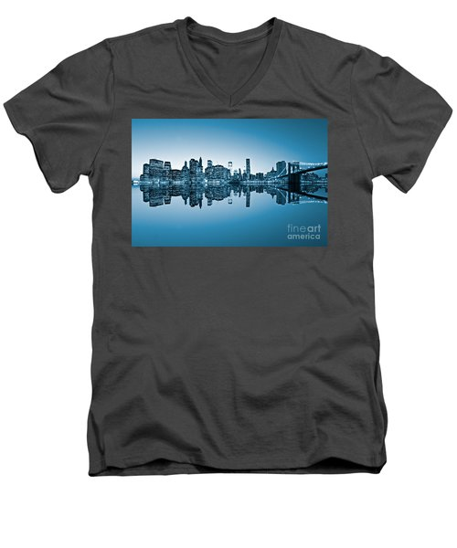 Men's V-Neck T-Shirt featuring the photograph Blue New York City by Luciano Mortula