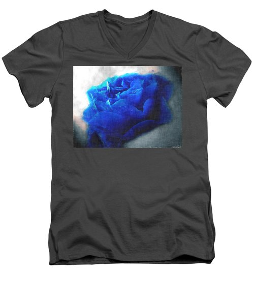 Men's V-Neck T-Shirt featuring the digital art Blue Rose by Debbie Portwood