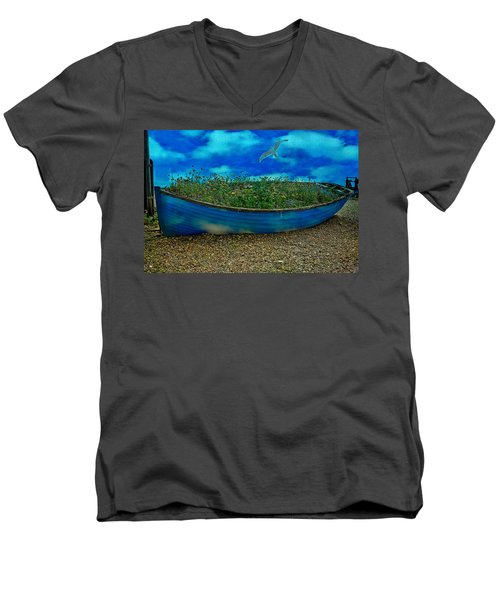 Men's V-Neck T-Shirt featuring the photograph Blue Sky Boat  by Chris Lord