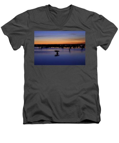 Blue Sunset Mangroves Men's V-Neck T-Shirt by Rich Franco