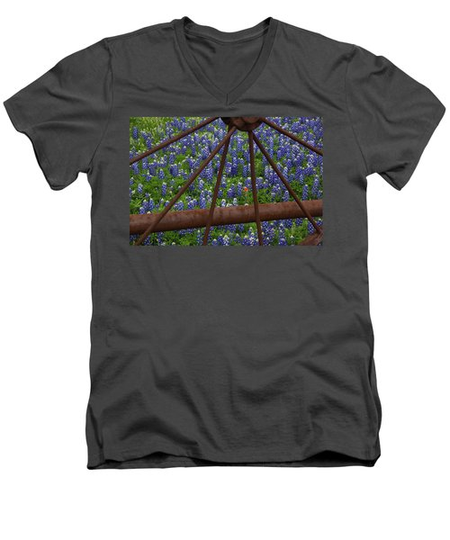 Bluebonnets And Rusted Iron Wheel Men's V-Neck T-Shirt