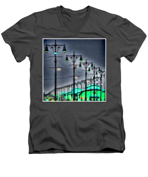 Men's V-Neck T-Shirt featuring the photograph Boardwalk Lights by Chris Lord