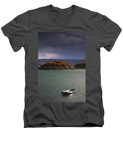 Men's V-Neck T-Shirt featuring the photograph Boat On Loch Sunart, Scotland by John Short