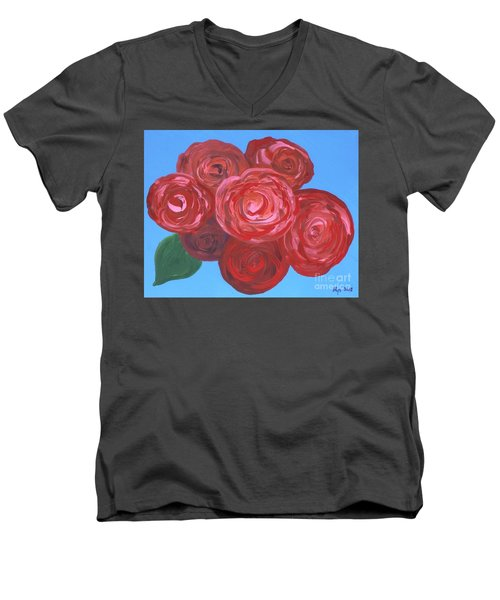 Men's V-Neck T-Shirt featuring the painting Bouquet Of Roses by Alys Caviness-Gober