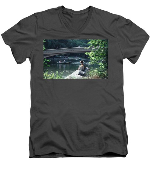 Men's V-Neck T-Shirt featuring the photograph Bow Bridge In Central Park Nyc by Tom Wurl
