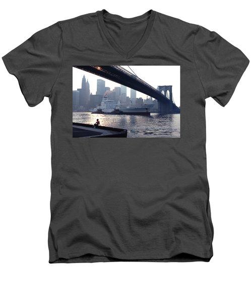 Boy Freighter Brooklyn Bridge Sunset Men's V-Neck T-Shirt