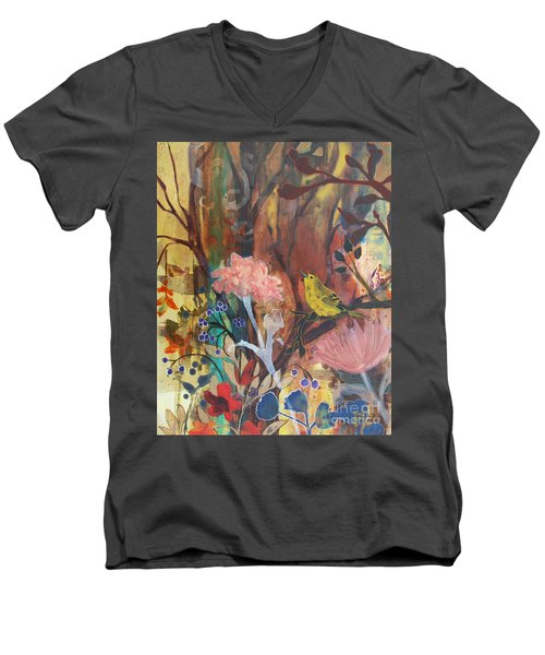 Men's V-Neck T-Shirt featuring the painting Breath Of Cooler Air by Robin Maria Pedrero