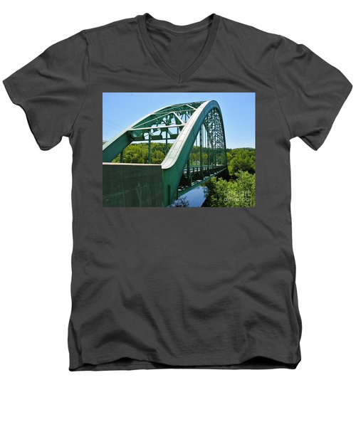 Men's V-Neck T-Shirt featuring the photograph Bridge Spanning Connecticut River by Sherman Perry