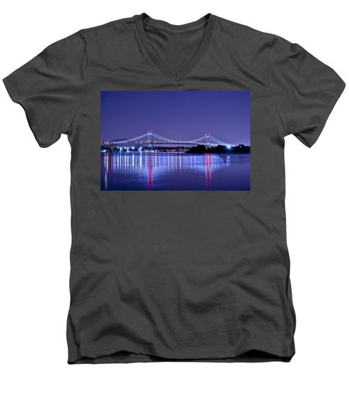 Tri-borough Bridge In Nyc Men's V-Neck T-Shirt