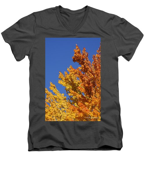 Men's V-Neck T-Shirt featuring the photograph Brilliant Fall Color And Deep Blue Sky by Mick Anderson