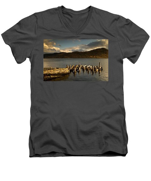 Men's V-Neck T-Shirt featuring the photograph Broken Dock, Loch Sunart, Scotland by John Short