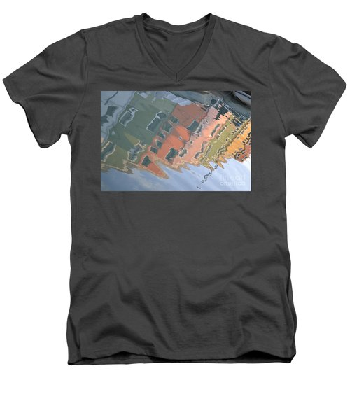 Men's V-Neck T-Shirt featuring the photograph Burano House Reflections by Rebecca Margraf