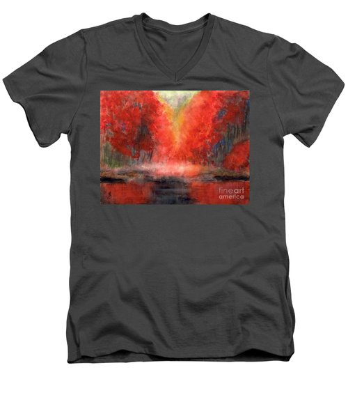 Burning Lake Men's V-Neck T-Shirt by Yoshiko Mishina
