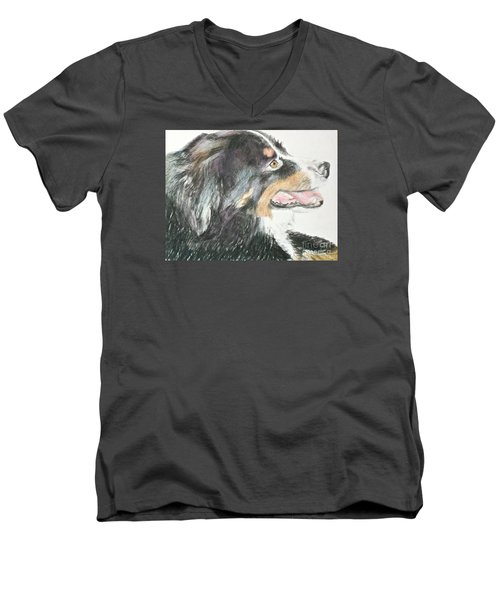 Men's V-Neck T-Shirt featuring the drawing Buttercup The Wonderdog by Beth Saffer