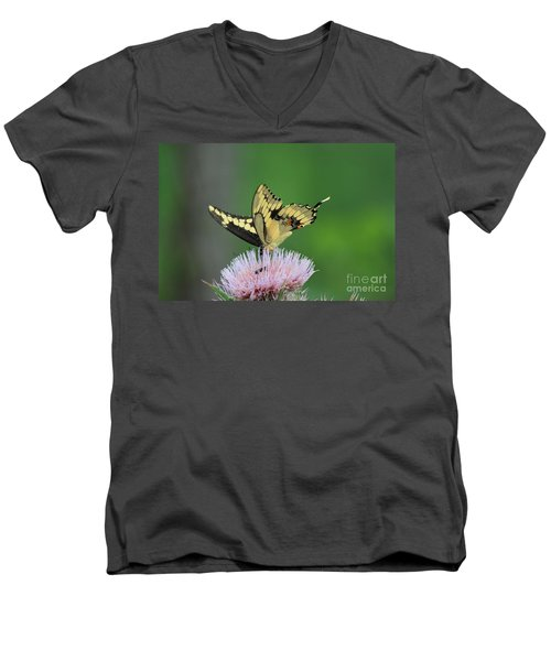 Men's V-Neck T-Shirt featuring the photograph Butterflies Are Free by Kathy  White
