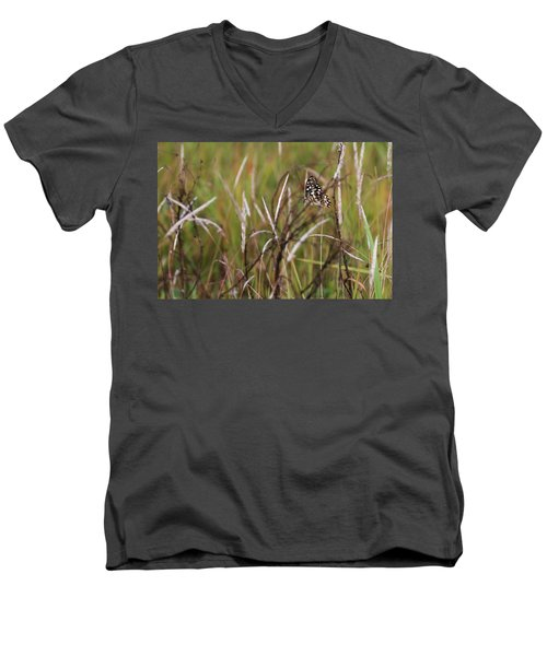Men's V-Neck T-Shirt featuring the photograph Butterfly In Flight by Fotosas Photography