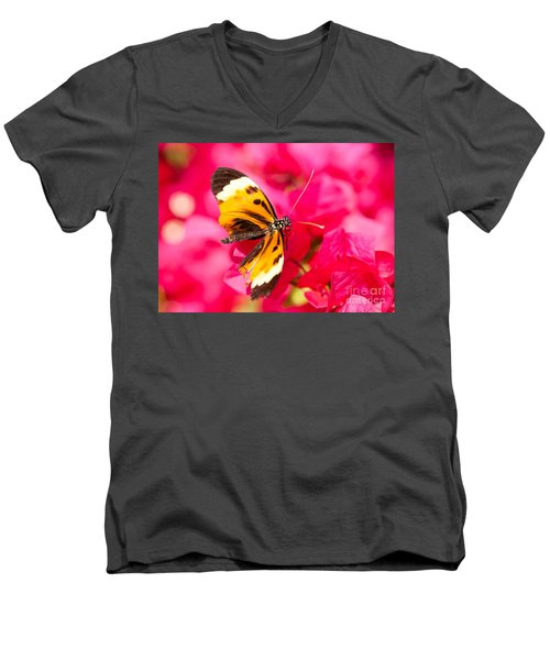 Men's V-Neck T-Shirt featuring the photograph Butterfly by Les Palenik