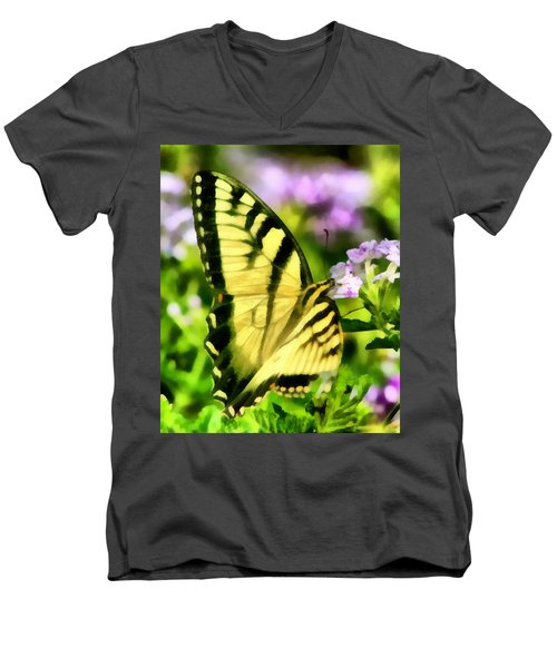Men's V-Neck T-Shirt featuring the painting Butterfly by Lynne Jenkins