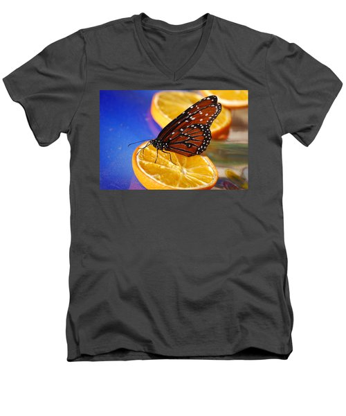 Men's V-Neck T-Shirt featuring the photograph Butterfly Nectar by Tam Ryan