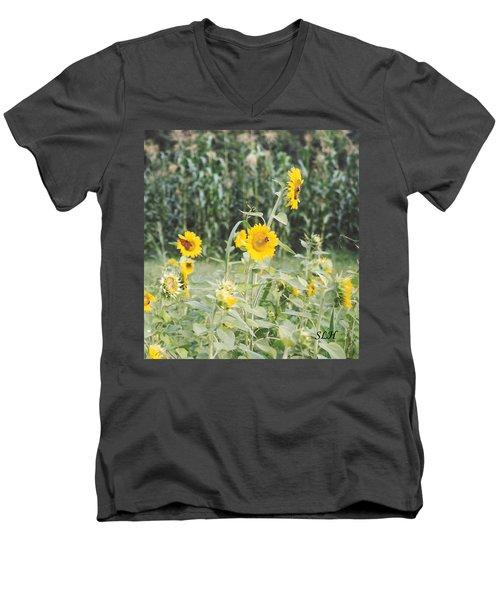 Butterfly On Sunflower Men's V-Neck T-Shirt