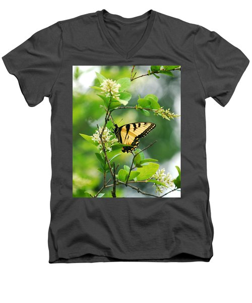 Men's V-Neck T-Shirt featuring the photograph Butterfly Tiger Swallow by Peggy Franz
