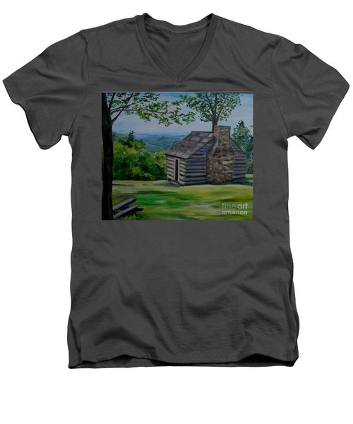 Men's V-Neck T-Shirt featuring the painting Cabin On The Blue Ridge Parkway In Va by Julie Brugh Riffey