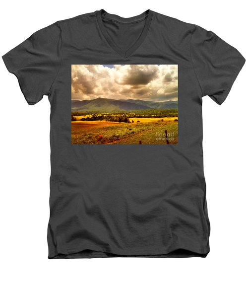 Cades Cove Men's V-Neck T-Shirt by Janice Spivey