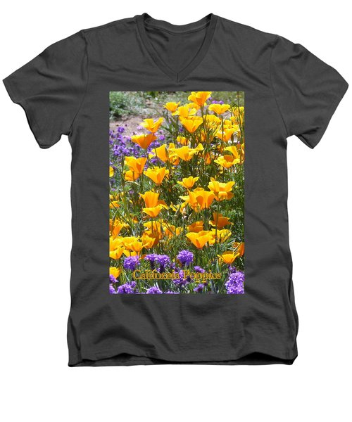Men's V-Neck T-Shirt featuring the photograph California Poppies by Carla Parris