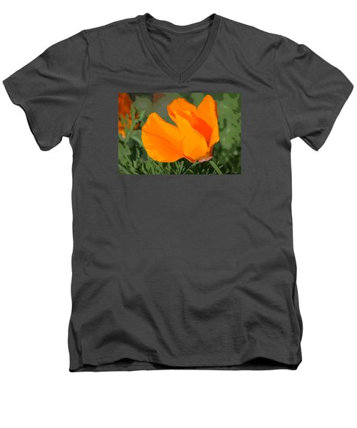 Men's V-Neck T-Shirt featuring the photograph California Poppy2 by Rima Biswas