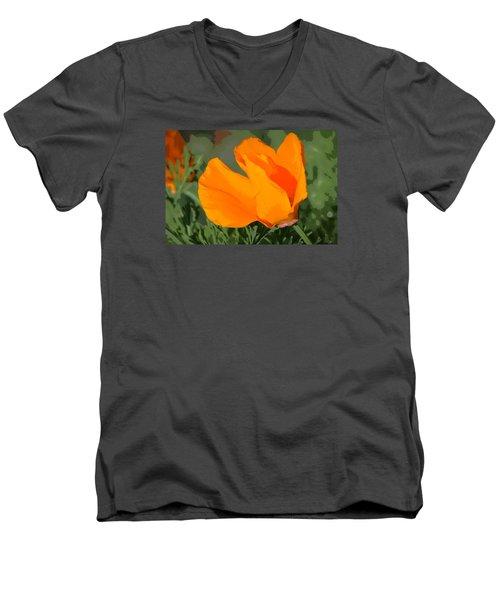 California Poppy2 Men's V-Neck T-Shirt