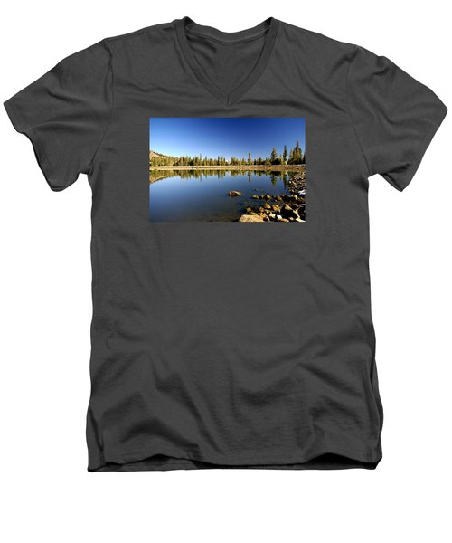 Calm Day On Red Lake Men's V-Neck T-Shirt by Michael Courtney