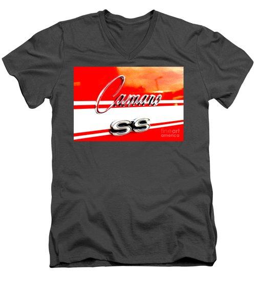 Men's V-Neck T-Shirt featuring the digital art Camaro Ss Flank by Tony Cooper