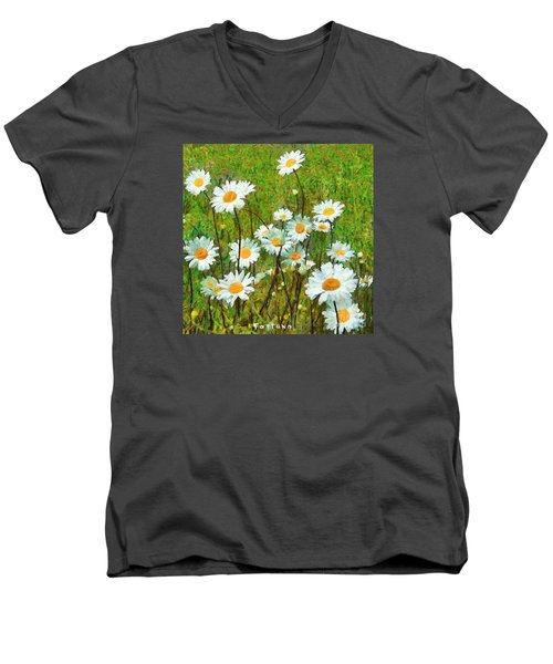 Men's V-Neck T-Shirt featuring the painting Camomiles Field by Dragica  Micki Fortuna